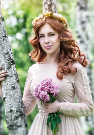 dreamy: Cute dreamy bride portrait Stock Photo