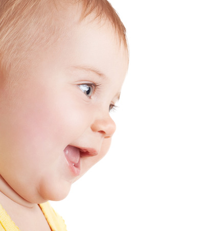 face of baby: Closeup portrait of cute little girl laughing, nice baby face isolated on white background, good exciting feelings, happy healthy childhood