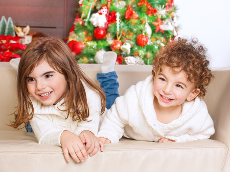 brothers and sisters: Portrait of cute little brother and sister having fun at home, spending happy winter holidays, with pleasure playing games on the sofa near Christmas tree