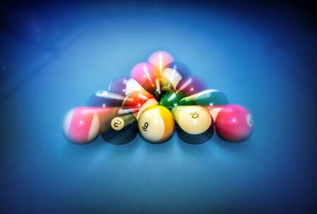 pool bar: Billiard table vintage background, beginning of the game, slow motion technique, soft focus effect, hobby and sport concept Stock Photo