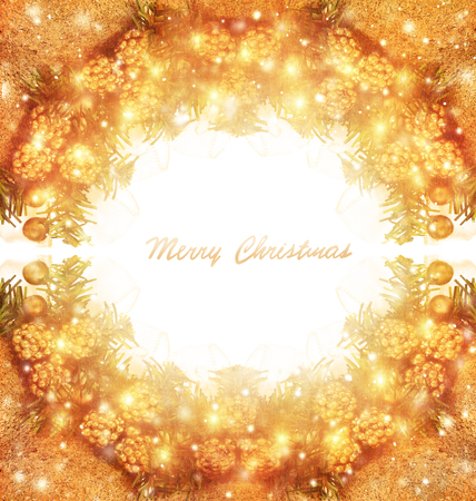 text space: Merry Christmas greeting card with text space, beautiful golden traditional Xmas wreath on white background, happy holidays concept