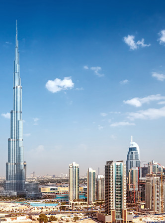 Downtown of Dubai, day view on luxury city, majestic world's highest skyscraper, Burj Khalifa, new modern architecture, best place for travel Editorial