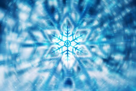 crystal background: Beautiful Christmas background, abstract blue blurred backdrop, soft focus of festive snowflake, greeting card for winter holidays