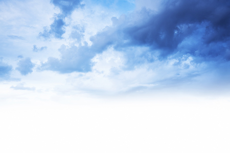 beautiful weather: Blue cloudy sky border, soft fluffy clouds, good weather, beautiful peaceful landscape, natural background with white text space Stock Photo