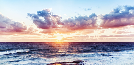 water  panoramic: Beautiful sea landscape, dramatic sunset over water, amazing breathtaking view, panoramic scene of Mediterranean sea