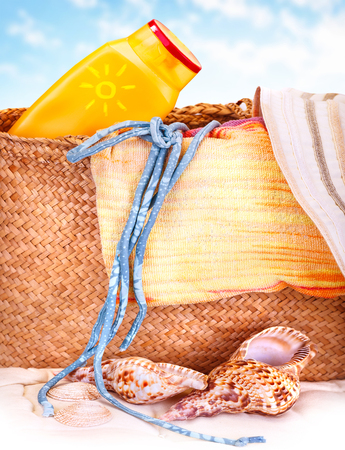 resort life: Beautiful still life of beach items, summer holidays, luxury beach vacation, relaxation on spa resort Stock Photo