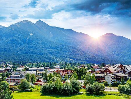 lps: Beautiful view on little mountainous village, Seefeld in Tirol is an old farming village, major tourist resort in Innsbruck-Land District in Austria, Europe