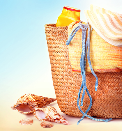 spa stuff: Closeup photo of beautiful beach items on seashore, stylish accessories for rest on tropical resort, summer vacation concept Stock Photo