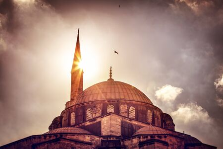mosque: Beautiful view on the mosque over sunset light, amazing architectural heritage, historical landmark of Istanbul, Turkey