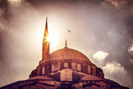 historical landmark: Beautiful view on the mosque over sunset light, amazing architectural heritage, historical landmark of Istanbul, Turkey
