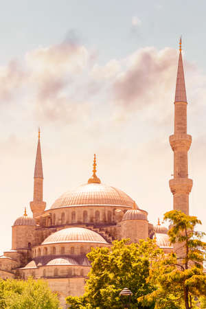 touristic: Blue mosque of Istanbul or The Sultan Ahmed Mosque, famous religious landmark, great touristic place, Turkey