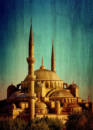 Blue mosque of Istanbul or Sultanahmet, historic famous religious landmark, great touristic place, Turkey, vintage textured photo