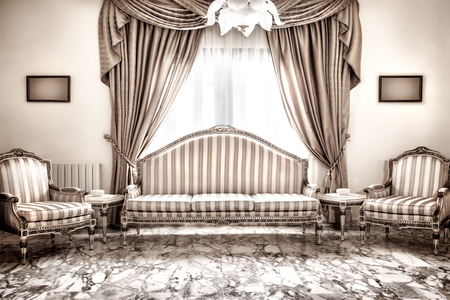classic interior: Beautiful retro interior design, luxury vintage style furniture, classic comfortable sofa and armchairs traditional set, marble floors, expensive design of house