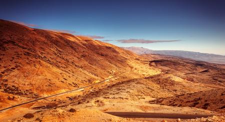 mountainous: Beautiful mountainous landscape, amazing view on the road, panoramic scene, extreme traveling to wilderness of Lebanon
