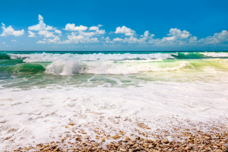 perfect waves: Beautiful sea landscape, surf beach destination, turquoise waves perfect for surfing, summer vacation