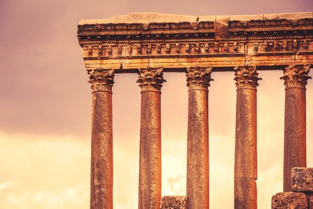 heliopolis: Jupiters temple of Baalbek, antique roman architecture, ruins of a temple, touristic place, famous landmark of Lebanon