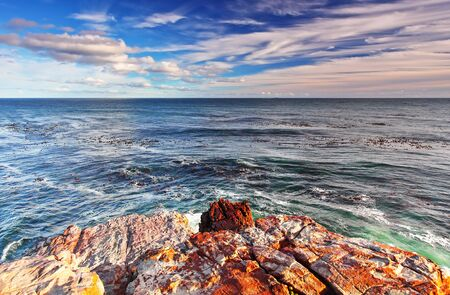 rocky point: Rocky landscape on the Atlantic coast of the Cape Peninsula, the most south-western point of the African Continent, Cape of Good Hope, South Africa Stock Photo