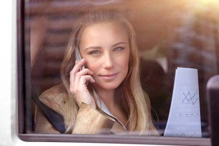 people problems: Portrait of a serious business woman in the car resolving work problems, analyzing graphics and discussing it on the phone, examines important documents, modern life of a successful people Stock Photo