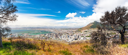 destination scenic: Panoramic view of the Cape Town, amazing landscape of a coastal city, scenic destination, travel to South Africa