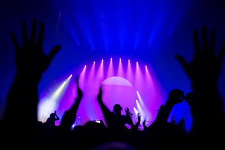 show of hands: Silhouette of people partying in nightclub, raised up hands enjoying great musical show, live music performance, celebrating New Year