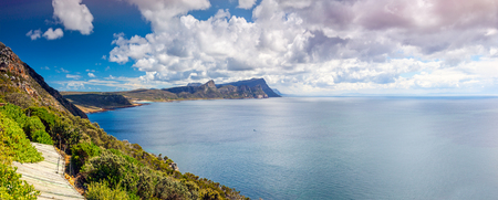 Beautiful ocean landscape, high beautiful mountains, gorgeous panoramic view, amazing nature of South Africa