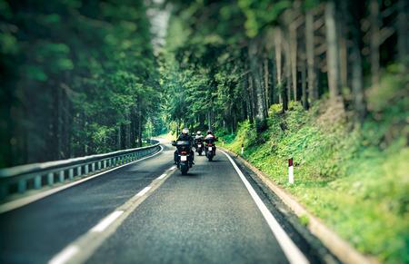Groep fietsers op de weg tussen het mooie groene bos van de pijnboomboom, motorrijders die langs bergenweg, vrijheid en actief levensstijlconcept reizen