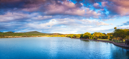 Garden Route, beautiful landscape of a lake and mountains, panoramic view of a famous tourist attraction, amazing nature of South Africa Stock Photo