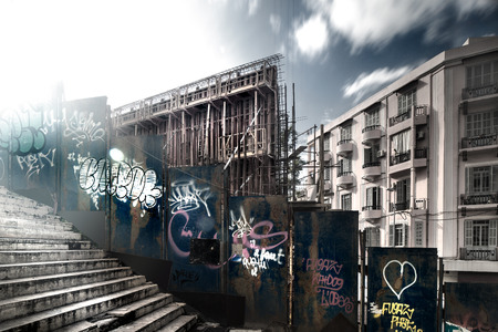 Grunge style photo of a street in Beirut, old damaged construction, covered with walls of graffiti, urban photography Stock fotó