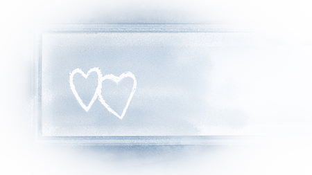 Hearts background, drawing on a snowy window, greeting card with copy space, love concept for happy romantic holidays, Valentines day greeting card