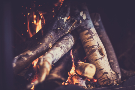 Fireplace, burning woodpile background, cozy romantic winter evening near fire place
