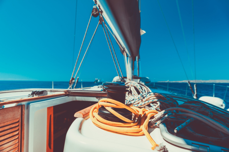 Vacation on sailboat, closeup photo of yacht equipment, sailing sport, summer holidays at sea Stock Photo - 107953637