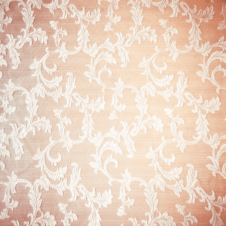 Retro floral curtains background, abstract beige textured wallpaper, beautiful fabric decorated with vintage style embroidered flowers