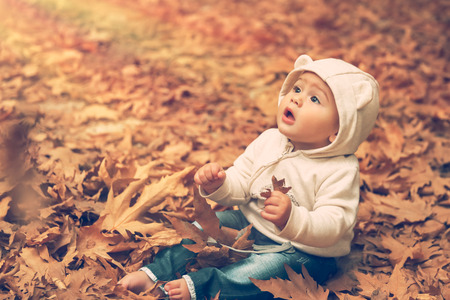 Adorable child sitting on the  ground covered with dry tree leaves in warm autumn day and with wonder looking up to the sun lights, happy autumnal time