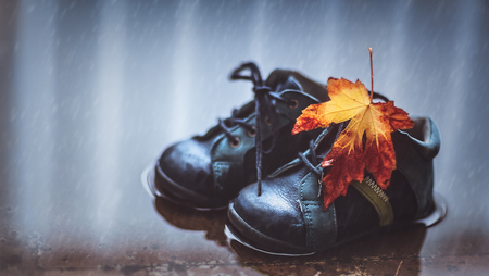 Closeup photo of a small baby boots in the puddle with dry maple leaf on it, waterproof childs shoes, autumn season concept Stockfoto