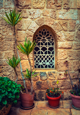 Beautiful window of an ancient monastery, amazing details of an old architecture, fresh flowers pots under the window, Lebanon