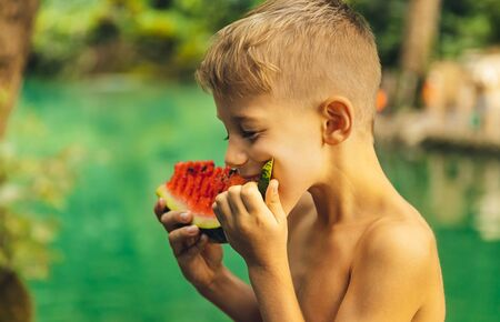 Portrait of a cute little boy with pleasure eating watermelon outdoors, enjoying fresh ripe juicy fruit, happy summer holidays in countryside 写真素材