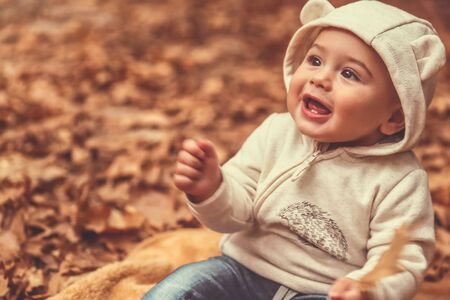 Portrait of a cute child spending time in the autumn forest, with pleasure sitting on the blanket on the ground covered with dry tree leaves and smiling, happy carefree childhood