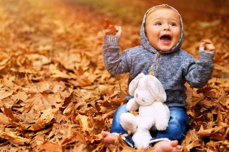 Cute little baby boy sitting on the ground covered with dry leaves in the park, little cheerful child playing with soft toy in the autumn garden