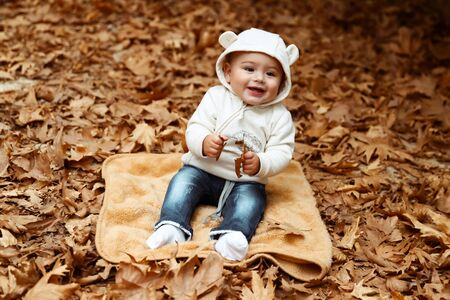 Cute cheerful kid having fun in the autumn park, sweet little boy sitting on the ground covered with dry tree leaves, happy child enjoying autumn season