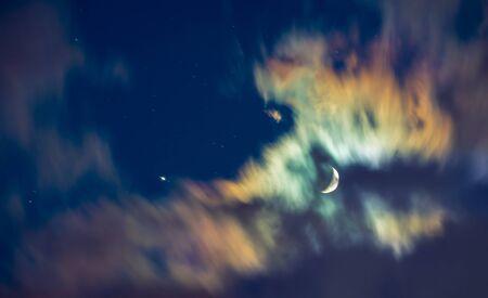 Beautiful moon background, new moon, scary dark cloudy sky, horror night of Halloween holiday 版權商用圖片