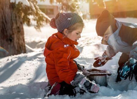 Happy children playing outdoors, enjoying traditional winter fun
