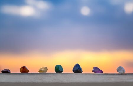 Crystals, energy stones for meditation over sunset