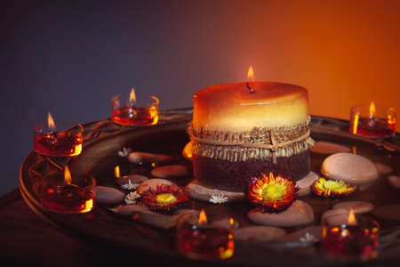 Beautiful candles still life, decorations for a nice cozy atmosphere, image suitable for Diwali festival, Ramadan or Thanksgiving holiday Banque d'images