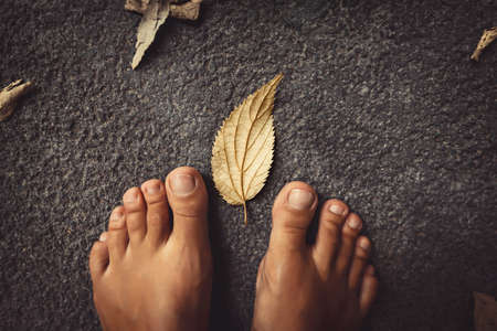 Welcome Fall Background. Closeup Concept Photo of a Barefoot Women Feet and Dry Leaves. Autumn Season Theme. Banque d'images