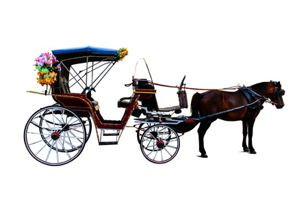 horse drawn carriage: Colorful horse carriage in Lampang Thailand Stock Photo