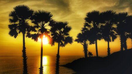 sunset in the sea of Thailand, Laem Phrom Thep