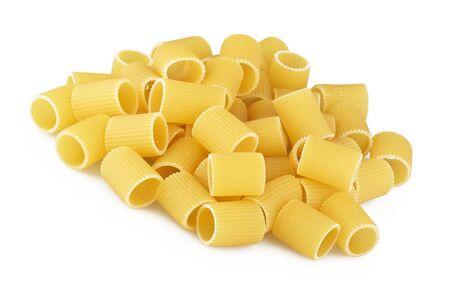 Italian pasta mezze maniche on white photo