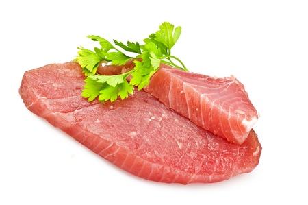 Steak de thon cru avec des épices Banque d'images - 9836055