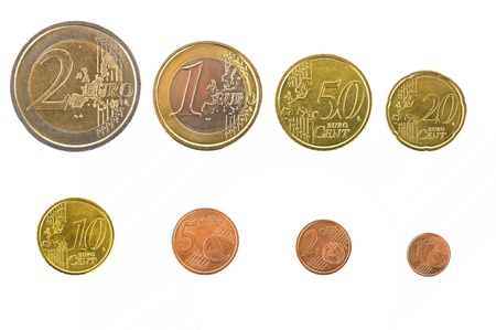 collections euro coins in the white photo