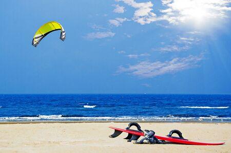 Kite surf on the beach photo